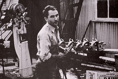 Yvon Chouinard working in his shop in Burbank, 1965 [IMG_2765]