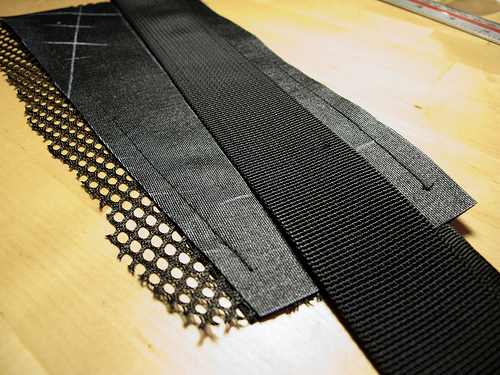 Layering of the hipbelt prior to sewing
